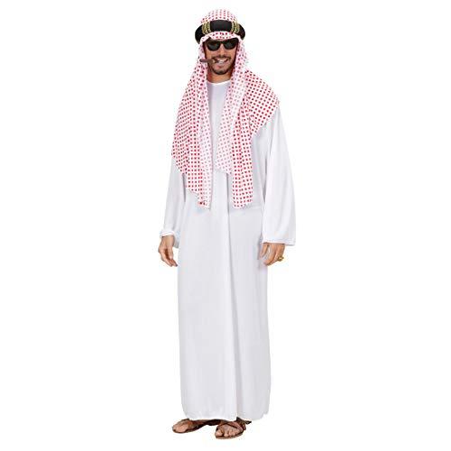 NET TOYS Impresionante Disfraz jeque para Hombre - Blanco-Rojo XL (ES 54) - Atractivo Disfraz para Hombre árabe Traje sultán para Hombre - Incomparable para Fiestas temáticas y Fiestas de Disfraces
