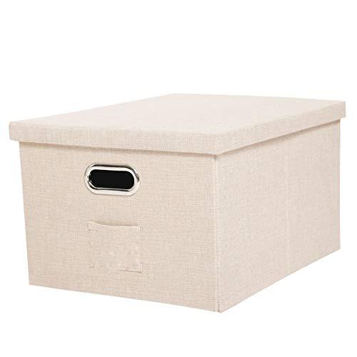 Caja de Almacenamiento Caja de Almacenamiento de Lino de imitación con Mango de Metal Caja de Almacenamiento de Armario Plegable