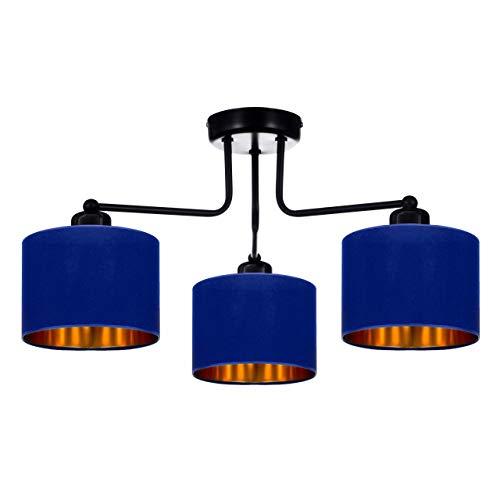 Lámpara de techo o pared, lámpara de mesa, lámpara de techo, color negro, gris, azul oscuro, turquesa, lámpara vintage moderna de diseño, serie TAD30-E3 (azul oscuro)