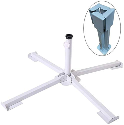 Portable Parasol Stand Heavy Duty Beach Patio Umbrella Stand Foldable Steel Standing Base Cross Design Ground Holder-White Excellent