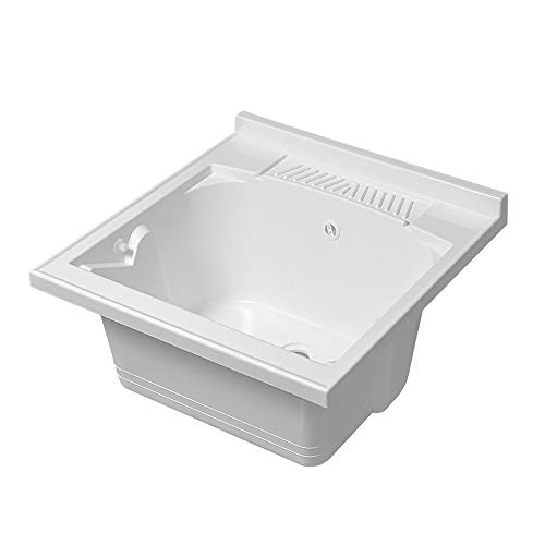 Lavatoio-Lavapanni in Resina, Bianco, 45x50-45x60-50x50-60x50-60x60, Ideale per Installazione su Mobile o Piano da appoggio (60x60)