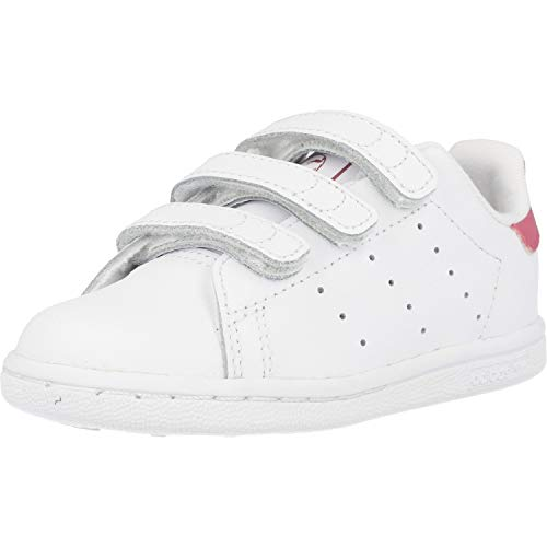 adidas Stan Smith CF I, Scarpe da Ginnastica Unisex-Bambini, Footwear White/Footwear White/Bold Pink, 21 EU