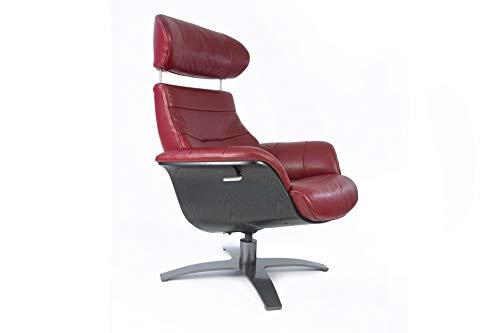 Vega Relaxsessel, Leder, rot, mit schwarzer Holzschale, Design, Qualität und großem Komfort, neigbare Rückenlehne, verstellbare Kopfstütze (rot, Leder)