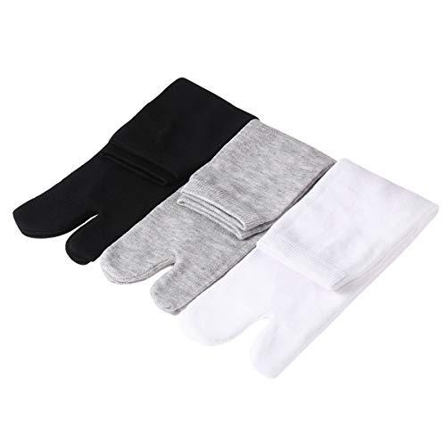 SUPVOX 3 Paar Flip Flop Zehensocken Zwei Zehensocken Zwei-Zehen-Socken aus Baumwolle V-Toe Tabi Zehensocken Entlastung Zehenreibung und Bunion/Hallux Valgus-Schmerz (Weiß, Grau und Schwarz)
