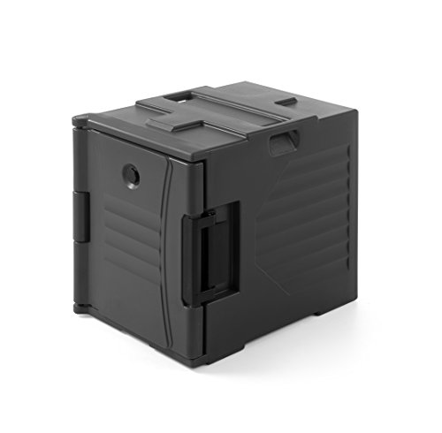 HENDI Thermobox, Doppelwandig, Thermo Catering Container, Thermobehälter, Transportbox, HDPE, Stapelbar, für GN 1/1, 477x680x(H)620mm, Schwarz