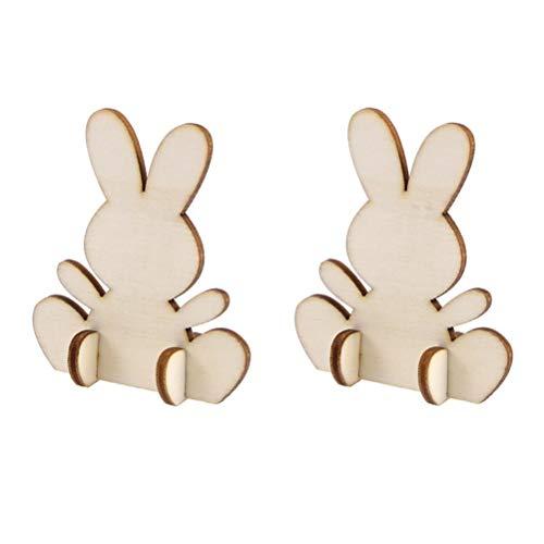 Amosfun - Conejos de madera cortados en 3D con forma de conejo de madera, decoración de Pascua, para manualidades, pintar, decoración de mesa, 20 unidades