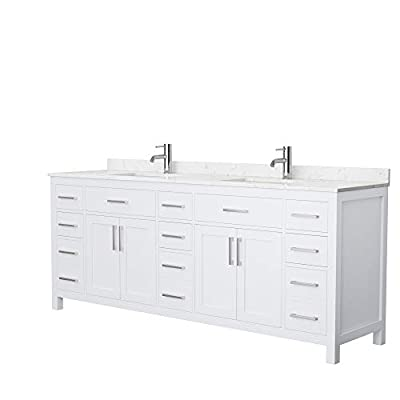 Beckett 84 Inch Double Bathroom Vanity in White, Carrara Cultured Marble Countertop, Undermount Square Sinks, No Mirror