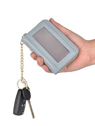 Leamekor RFID Credit Card Holder Wallets For Women Leather Zip Coin Purse Keychain