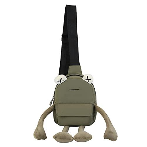 ZLYY Bolso de hombro lleno de animales mochila de peluche juguete dibujos animados pequeño bolso mujer moda personalidad linda rana bolso bandolera (verde)
