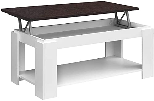 COMIFORT - Mesa de Centro Elevable con Revistero Incorporado, 100x50x43/55 cm, Nuevo Modelo (Blanco/WENGUE)