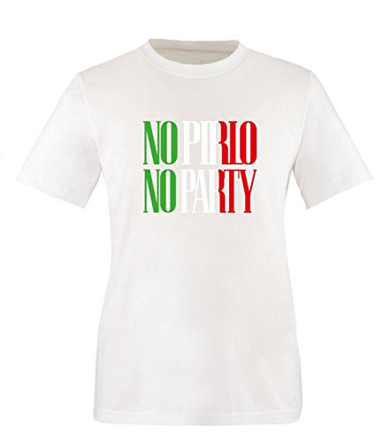 Luckja EM 2016 Trikot Italien Fanshirt No Pirlo No Party EM03 Herren Rundhals T-Shirt