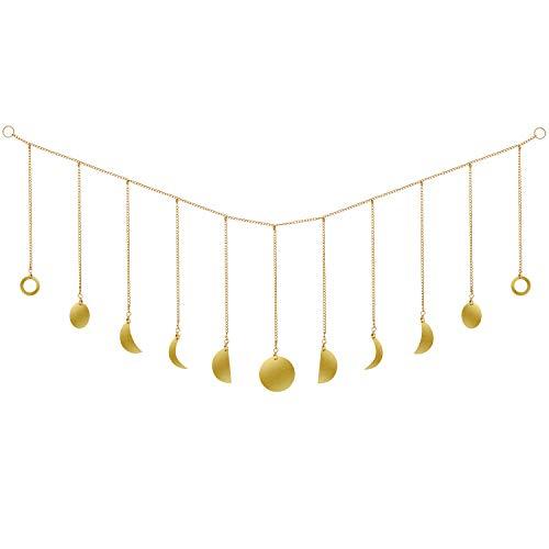 Fase Lunar Guirnalda con Cadenas Decoración de Pared Original Boho Gold Shining Wall Hanging Decoración de la Sala de Arte para Bodas Adornos de Guardería de Oficina en Casa