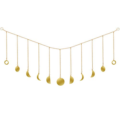 Suprcrne Moon Phase Garland with Chains Wall Decoration, Original Boho Gold Shining Wall Hanging Art Room Decor for Wedding Home Office Nursery Ornaments