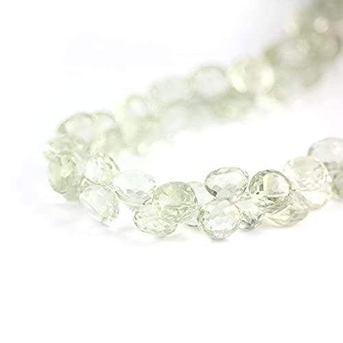 World Wide Gems Beads Gemstone Green Amethyst Faceted Onion Briolette 2 Pale Celery Green Candy Kiss Semi Precious Gemstone 7.5-8.5 mm Code-HIGH-66773