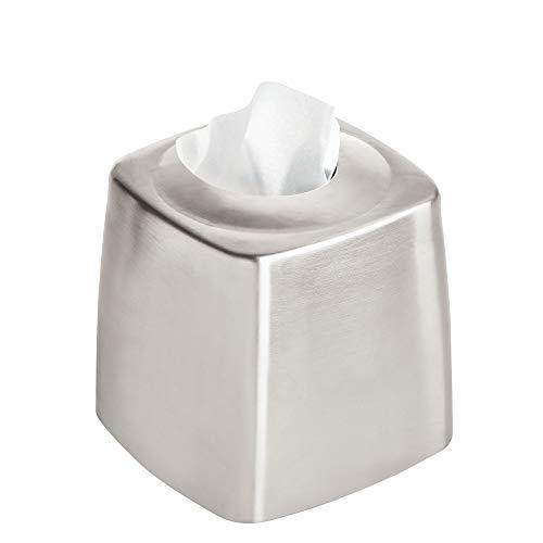 iDesign Austin Funda para caja de pañuelos, dispensador de papel secamanos de acero inoxidable cepillado para baño o dormitorio, plateado mate