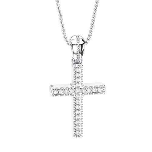 Ciondolo a forma di croce in oro bianco 18 K con diamanti taglio brillante rotondo da 0,10 carati