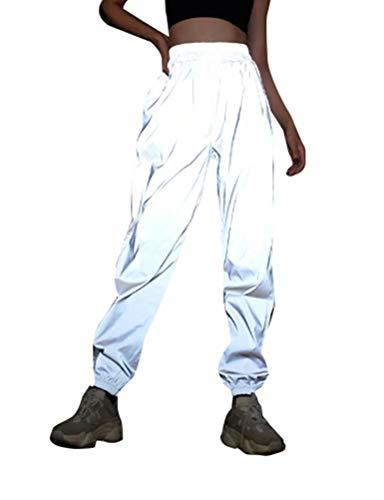Frecoccialo Pantalones de chándal Reflectantes para Mujer,...
