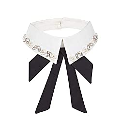 White Pearl & Rhinestone Fake Collar Detachable Lapel