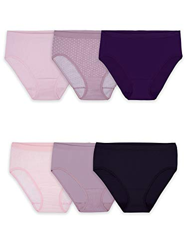 Fruit of the Loom Women's Seamless Panties with 360° Stretch, Hi Cut-6 Pack-Assorted Colors, 6