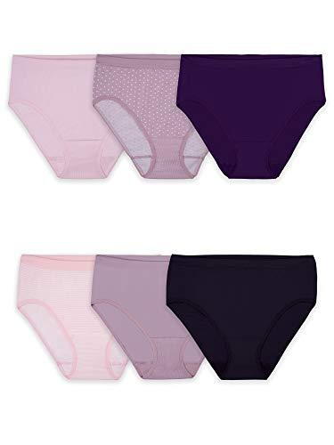 Fruit of the Loom Women Seamless Panties, Hi Cut-6 Pack-Assorted Colors, 9