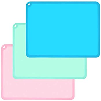 Kids Placemats Baby Placemats for Kids Toddler Children Reusable Baby Food Mats for Restaurant Large Silicone Sheets for Crafts Resin Jewelry Casting Molds Mat 3 Pack Blue/Green/Pink