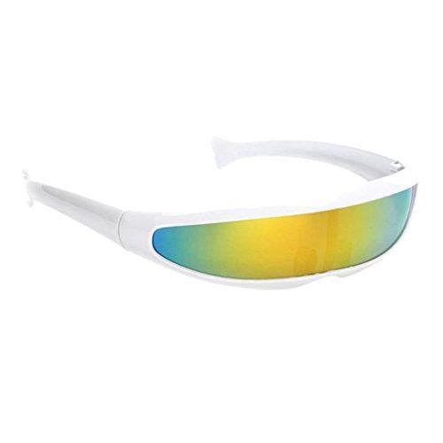 MagiDeal Gafas de Sol Visera Lente Color Estrecha Futurista Cíclope Decoración de Máscara de Fiesta - Marco Blanco Amarillo reflejado