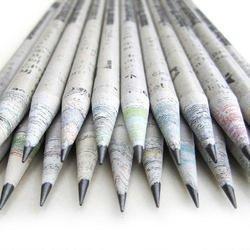 Chavi Eco-krant potloden, 50 stuks (1 doos) 2B van 100% gerecycled papier/krantenstift om te schrijven/tekenen/design voor kantoor/scholen, pennen