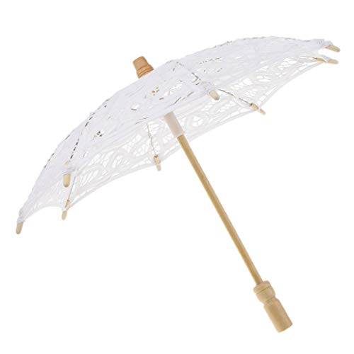 FLAMEER Parapluie Parasol De Mariage Mini Fleur Romantique Dancing - Blanc