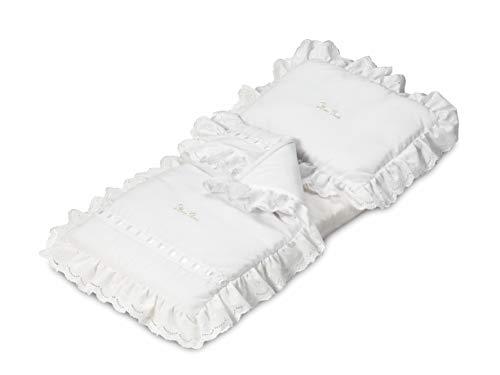 Silver Cross White Bedding Set for Coach-Built Dolls Pram, Children's Toy Pram Accessory 3-Piece Set