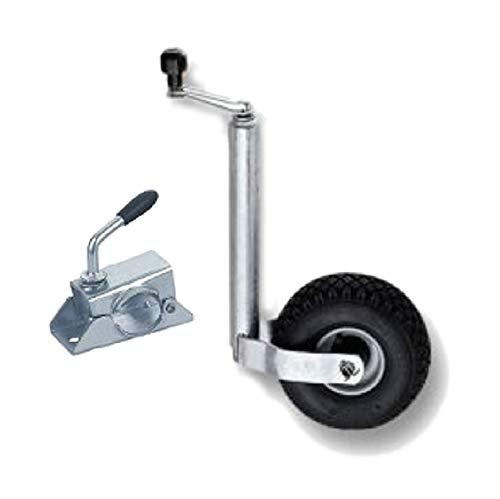 ASC Roue Jockey avec Pneu pneumatique – Collier de Serrage – 48 mm de diamètre (Petit Bateau/Jetski/remorque, etc.)