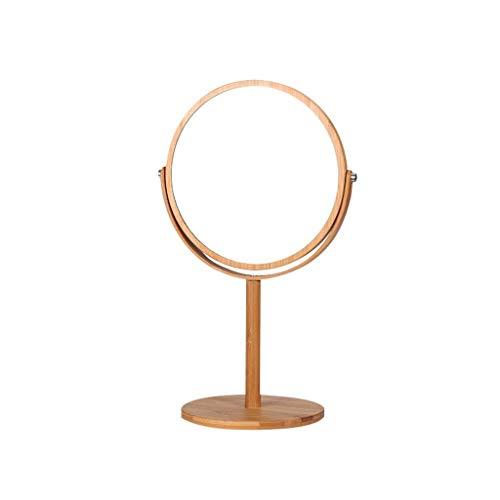 Makeup Mirror-Feng SZQ Spiegel dubbele spiegel make-up spiegel rond van hout 360 ° draaibaar schoonheid spiegel 2 x slaapkamerspiegel draagbare badkamerspiegel
