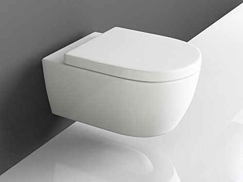 SSWW Design Hänge WC Spülrandlos Toilette inkl. WC Sitz mit Softclose Absenkautomatik + Abnehmbar - 4