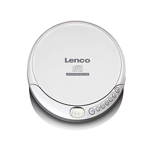 Lenco CD-201 - Tragbarer CD-Player Walkman - Diskman - CD Walkman - MP3 Funktion - Antishock - Mit Kopfhörern und Mikro USB Ladekabel - Silber