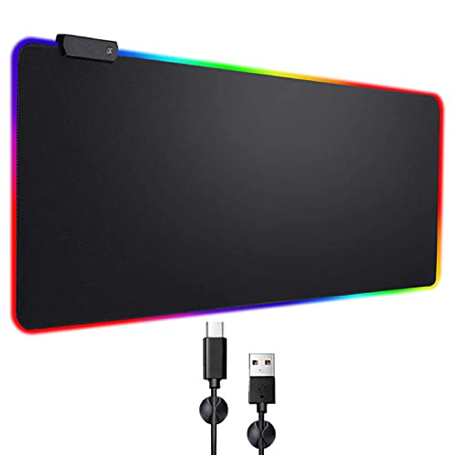 RGB Gaming Mouse Pad Extended, Zamia Glorious Gaming Mousepad LED with 4 Cable Clips,14 Lighting Modes Computer Keyboard Mousepads, USB Mouse Mat for Keyboard Mouse,31.5x12In,Black