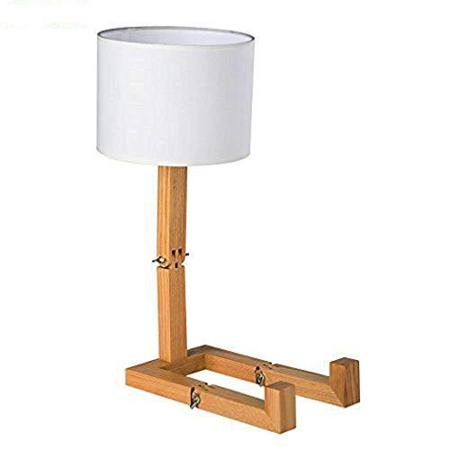 DYJD Robot bedlampje, verstelbaar boekenkastje van hout bedlampje, creatieve bureaulamp in de slaapkamer woonkamer
