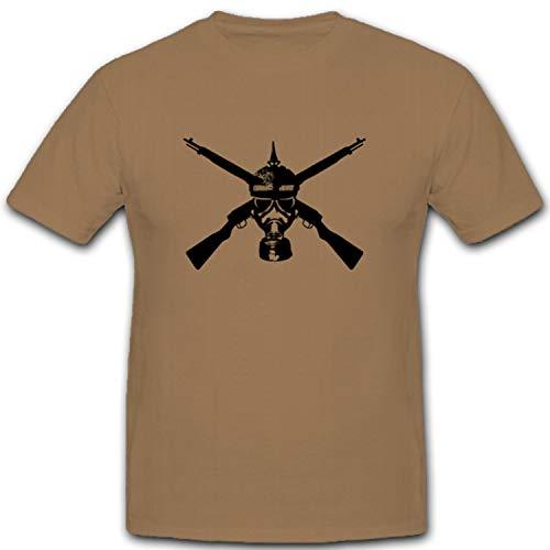 Preußischer Soldat Gasmaske Gewehr Adler Wk Wh Wappen Abzeichen Emblem - T Shirt #3618, Größe:XL, Farbe:Sand