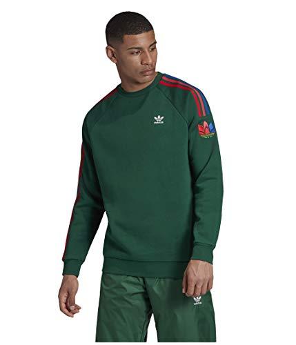adidas Originals Adicolor 3D Trefoil - Sudadera con cuello redondo para hombre - Verde - Medium