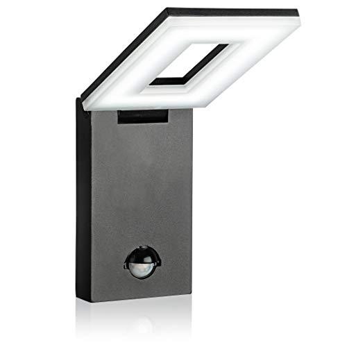 SEBSON® LED Buitenlamp met Bewegingssensor, Wandlamp Zwart IP54, Verlichting Zwenkbaar, Buitenverlichting 12W 650lm Koud Wit 6500K