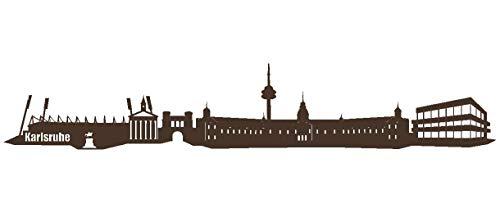 Samunshi® Wandtattoo Karlsruhe Skyline Wandaufkleber in 6 Größen und 19 Farben (70x12,3cm braun)