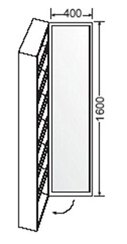 Burgbad Hochschrank, 1 Koffertür, 5 Ablagen, 1 Spiegel, SPCB040