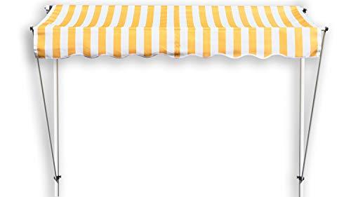 GRASEKAMP Qualität seit 1972 Klemmmarkise Ontario 255x130cm Gelb/Weiß Balkonmarkise höhenverstellbar von 200 cm – 320 cm