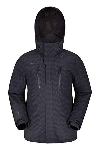 Mountain Warehouse Galaxy Bedruckte Herren-Skijacke - wasserdichte Snowboardjacke, warme, atmungsaktive Winterjacke, verschweißte Nähte, Schneefang, Skipass Tasche Schwarz XS