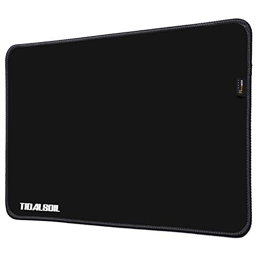 TIDALSOIL Mouse Pad Large Computer Mousepad Waterproof Cordura Premium-Textured with Stitched Edge Non-Slip Rubber Base Mousepads for Laptop Pc Desktop Gaming Office Home 13.78 x 9.84 inches Black