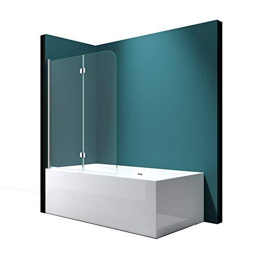 Faltwand Badewanne 120x140cm Badewannenaufsatz Duschwand 180° ESG Klarglas NANO C1408 Mai&Mai
