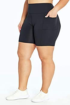Bally Total Fitness Plus Size Tummy Control Pocket Bike Short Black 3X