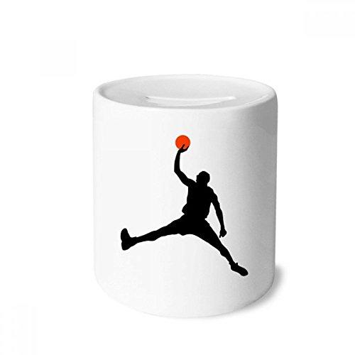DIYthinker Slam Dunk Sport Basketball Laufen Spardose Sparkassen Keramik Münzfach Kinder Erwachsene 3.5 Zoll in Height, 3.1 Zoll in Duruchmesser Mehrfarbig