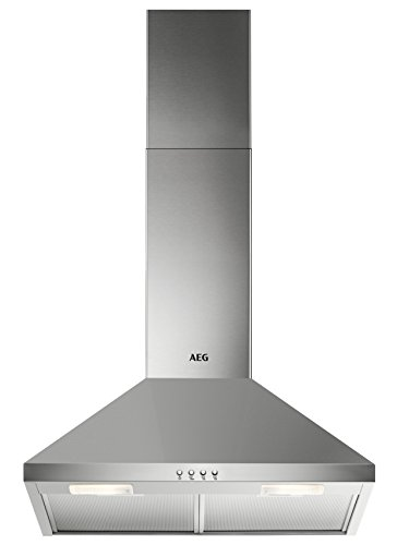 AEG DKB2630M Kamin-Dunstabzugshaube / Abluft oder Umluft / 60cm / Edelstahl / max. 225 m³/h / min. 57 – max. 70 dB(A) / D / Kurzhubtasten