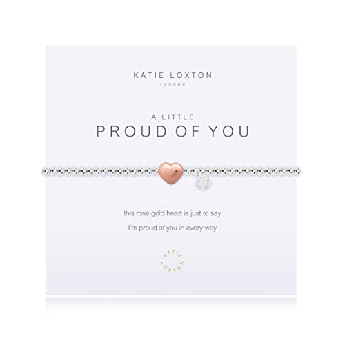 Katie Loxton A Little Proud of You Heart Silver Women's Stretch Adjustable Charm Bangle Bracelet