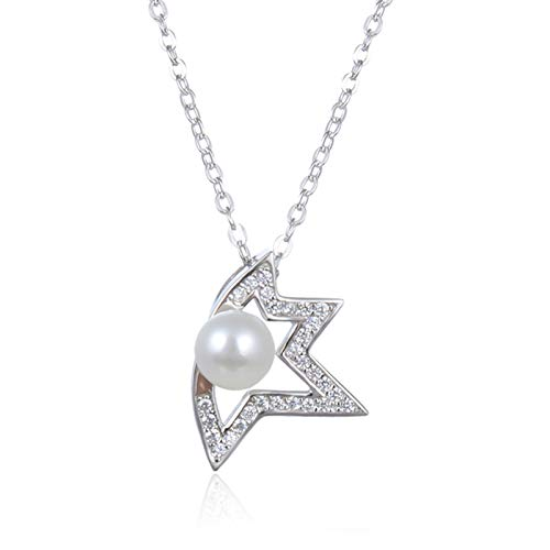 BEP Pearl Necklaces, S925 Sterling Silver Star Pendant Fashion Diamond Clavicle Chain for Birthday Valentines Day Jewelry Gifts