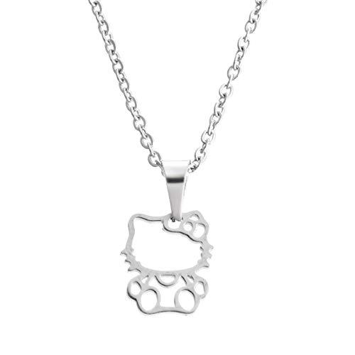 Moda Collar de acero inoxidable, Lindo gatito ahuecado colgante gato niños niñas gargantillas collar chica smallsteelcolor